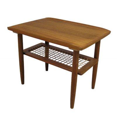 1960s Teak End Table w/Lower Rattan Shelf