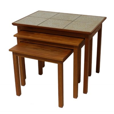 1960s Danish Teak & Tile Nesting Tables * PBJ Mobler *