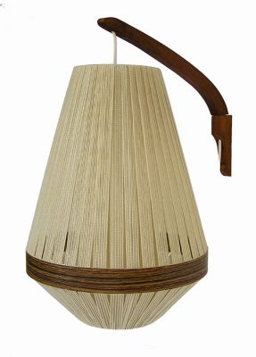 1960s Teak Wall Sconce w/String Shade