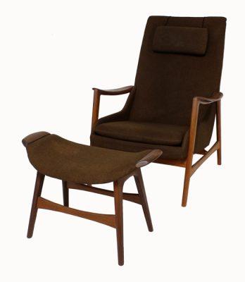1960s Teak Lounge Chair & Ottoman * Westnofa *