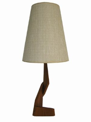 1960s Teak Mid-Century Modern Zig-Zag Table Lamp