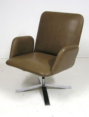 1960s Chrome & Leather Swivel Chair *Denmark*