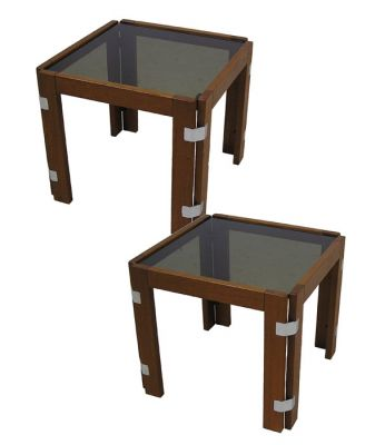 1970s Teak & Glass Side Table *2 Available*