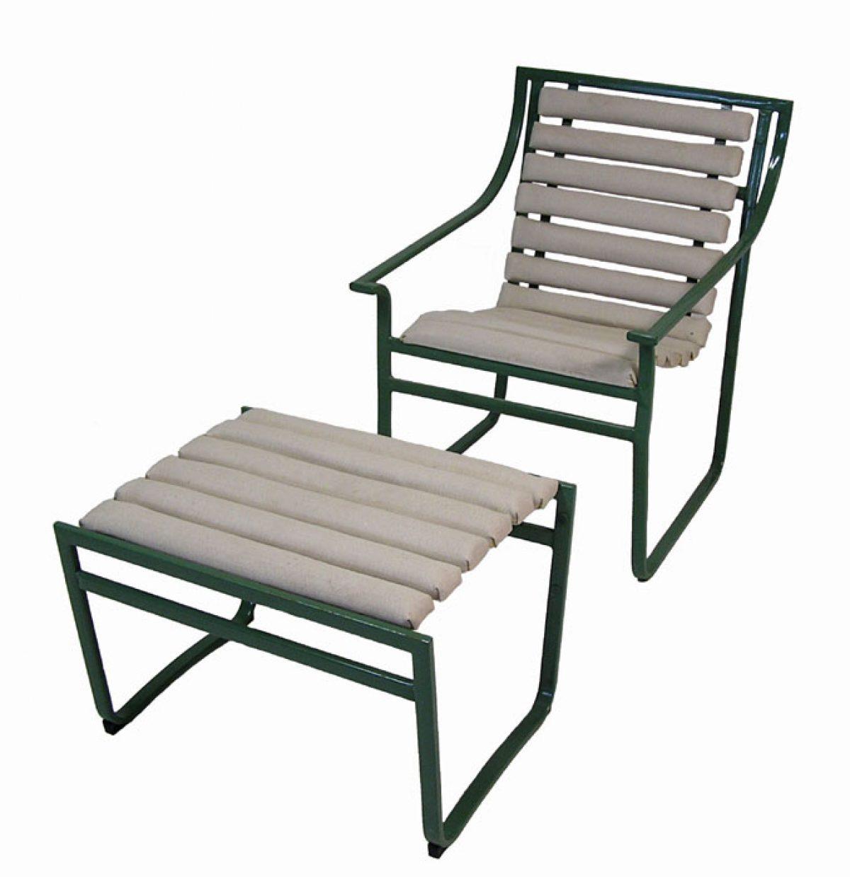 1970s Samsonite Tubular Steel Patio Chair U0026 Ottoman U2013 Hoopers Modern