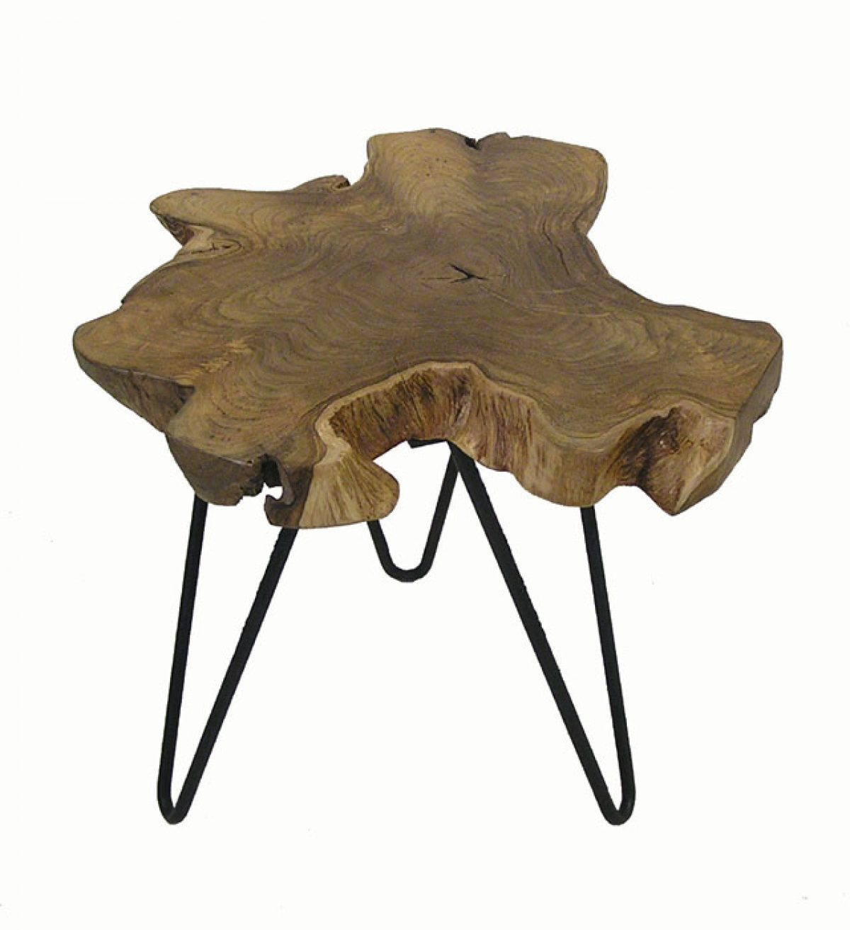 Teak Root End Table: Teak Root Side Table W/Hairpin Legs *Small*