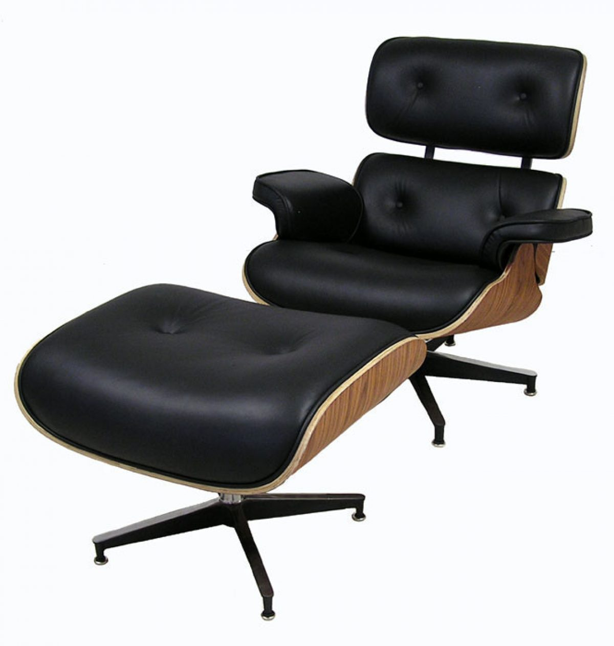 "Rosewood & Leather ""Eames"" Style Lounge Chair w Ottoman"