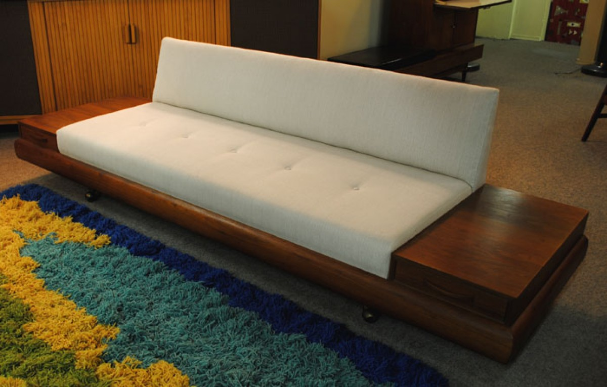 1960s Teak Sofa W Attached End Tables Hoopers Modern