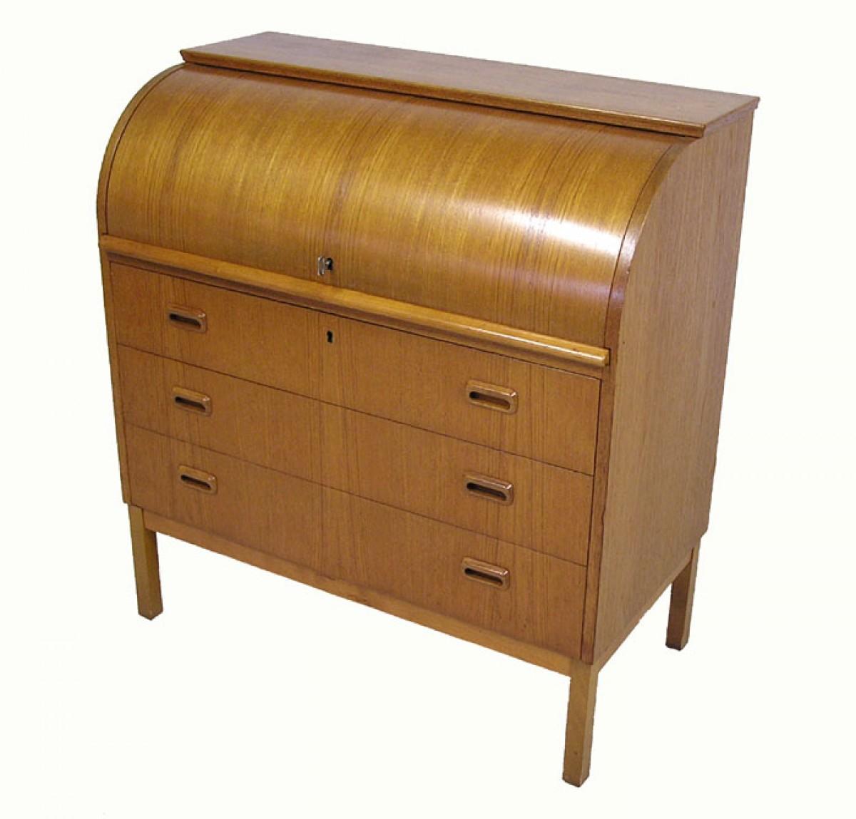 1960 70s Teak Roll Top Writing Desk Hoopers Modern