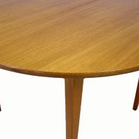 196070s Round Teak Dining Table Hoopers Modern